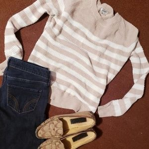 Old Navy Nude / Taupe & White Striped Knit Sweater